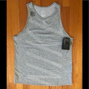 NWT Gray Nike Dri-Fit Cotton Tee. Size Medium